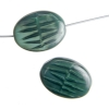 Glass Bead Oval 18x14mm Opaque Dark Green Silk